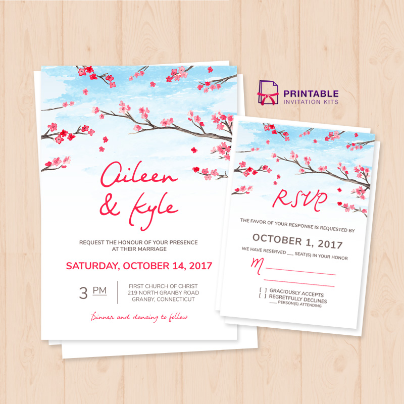 Cherryblossoms 2017 wedding invitation template and rsvp cherryblossoms wedding invitation and rsvp stopboris Choice Image