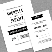 Clean Calligraphy Invitation and RSVP
