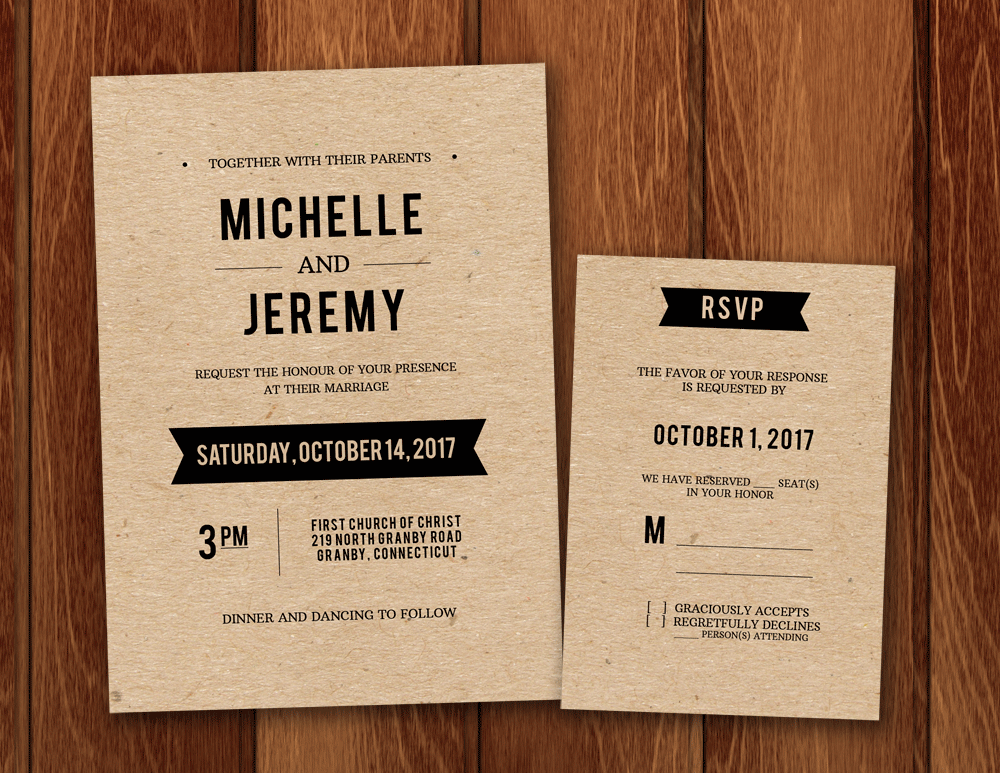 Clean Fonts Printable Wedding Invitation Template