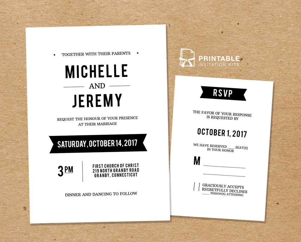 Clean Fonts – Printable Wedding Invitation Template and RSVP