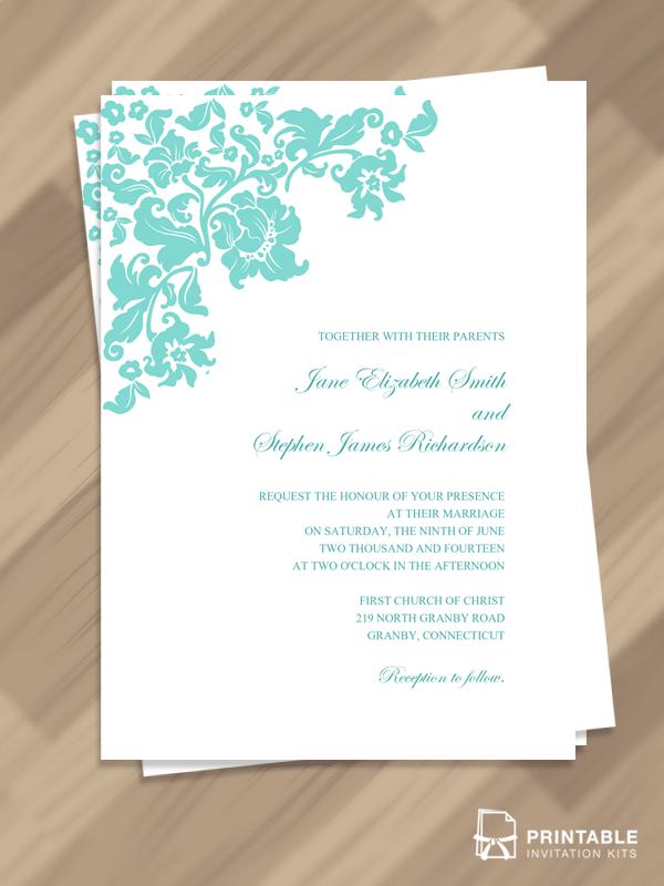 Pretty Vintage Wedding Invitation Template