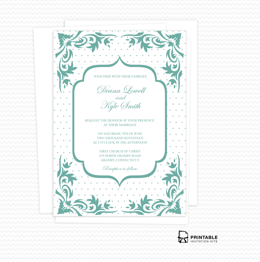 Boho Dots Wedding Invitation PDF