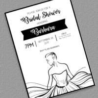 Bridal Shower Printable Line Art Bride