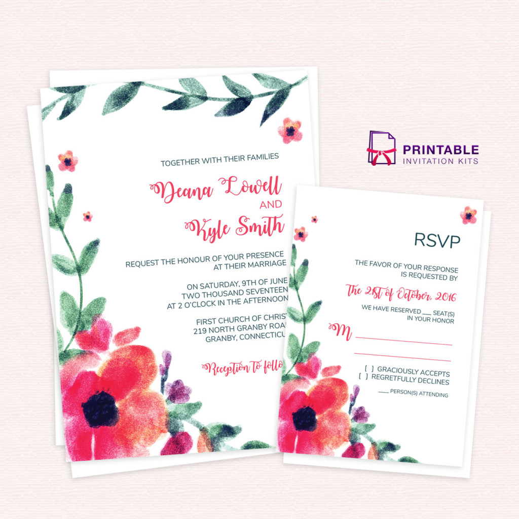 Watercolor Art Wedding Invitation and RSVP
