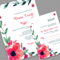 Watercolor Floral wedding Invitation and RSVP