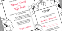 Black and White Floral Frame Invite and RSVP