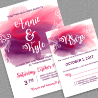 Watercolor Splash Wedding Invitation Template and RSVP