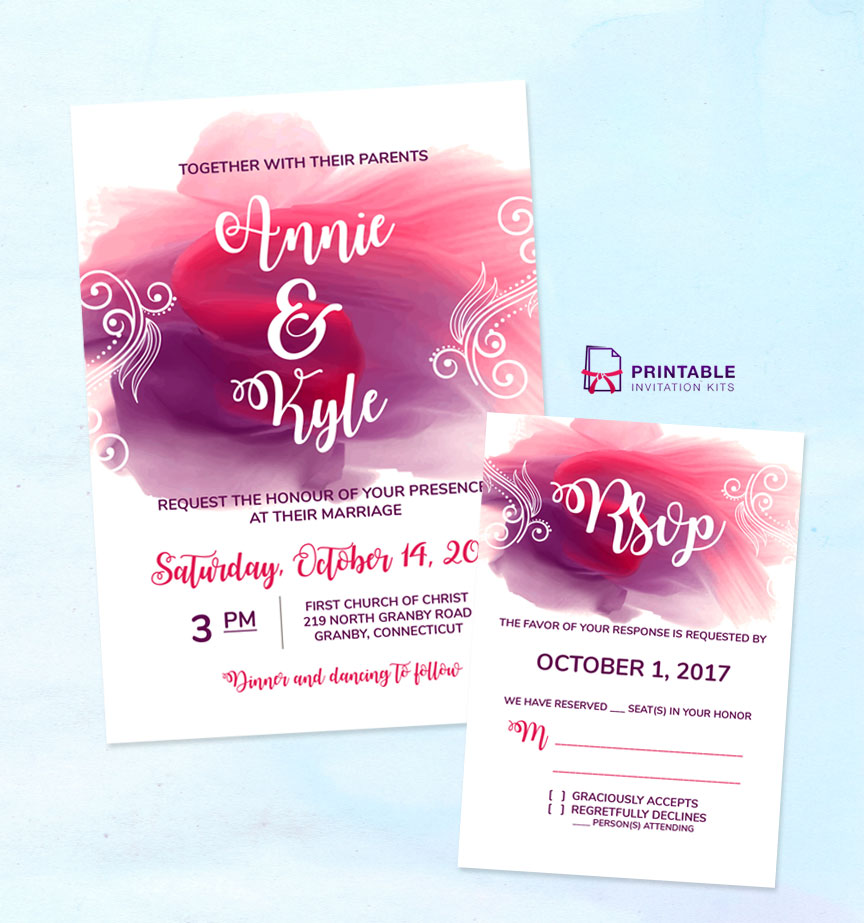 Watercolor Wedding Invitation and RSVP