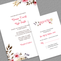 Clean  Vintage Floral Invitation and RSVP