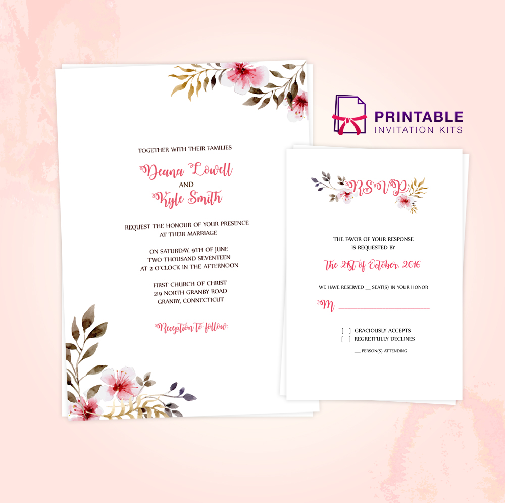 Clean, Delicate Vintage Floral Invitation and RSVP Templates ...