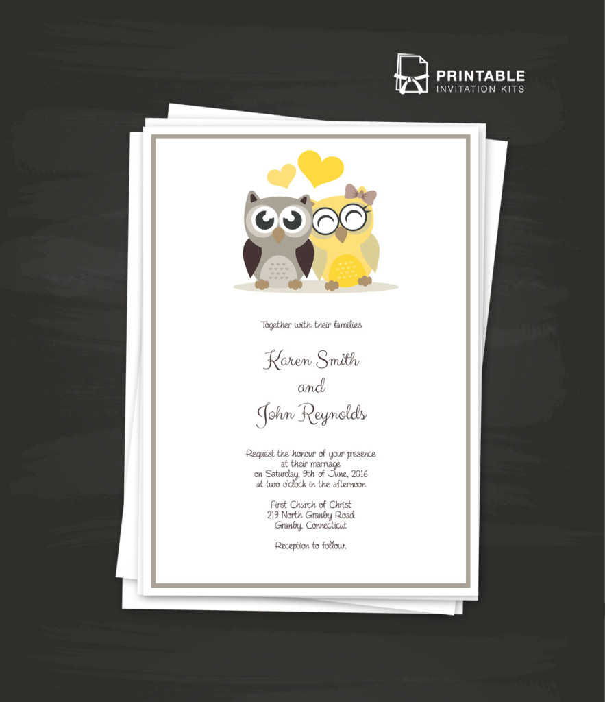 printable wedding invitation kits owls 2017 wedding invitation template wedding invitation 6821