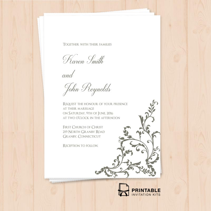 Side Border Wedding Invitation
