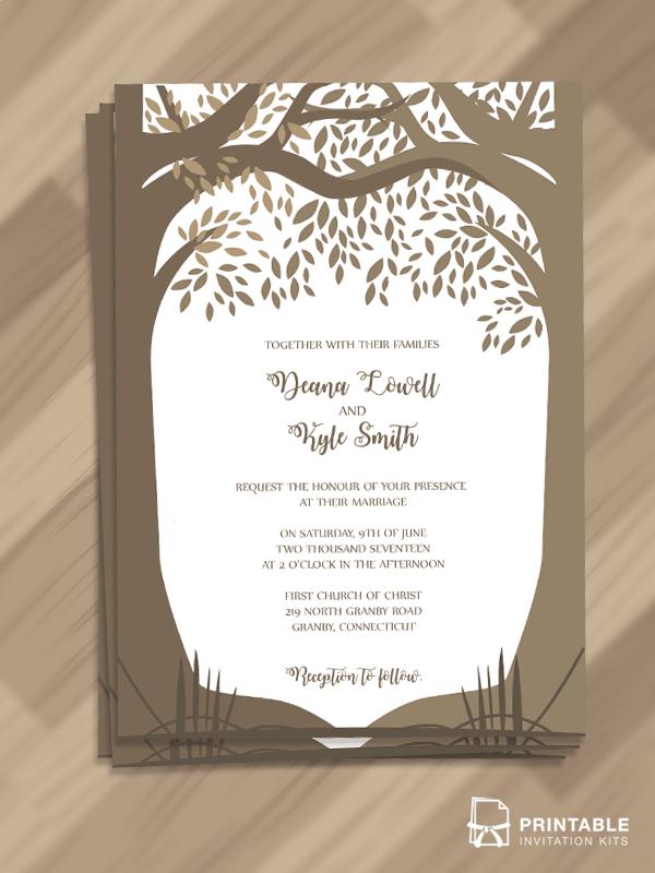 Romantic Woods Trees Fall Wedding Invitation