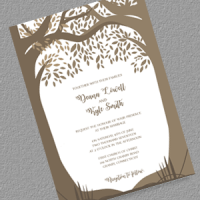 Romantic Wood Fall Wedding Invitation