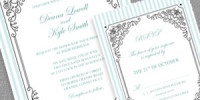 Stripes and Frame Wedding Invitation and RSVP