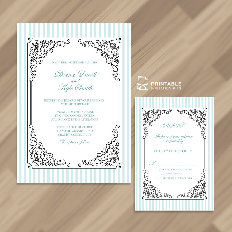 Stripes and Fancy Frame Wedding Invitation and RSVP