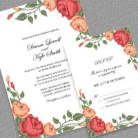 Vintage Rose Invitation and RSVP PDF Templates