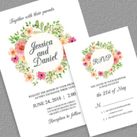 Floral Wreath Wedding Invitation Templates