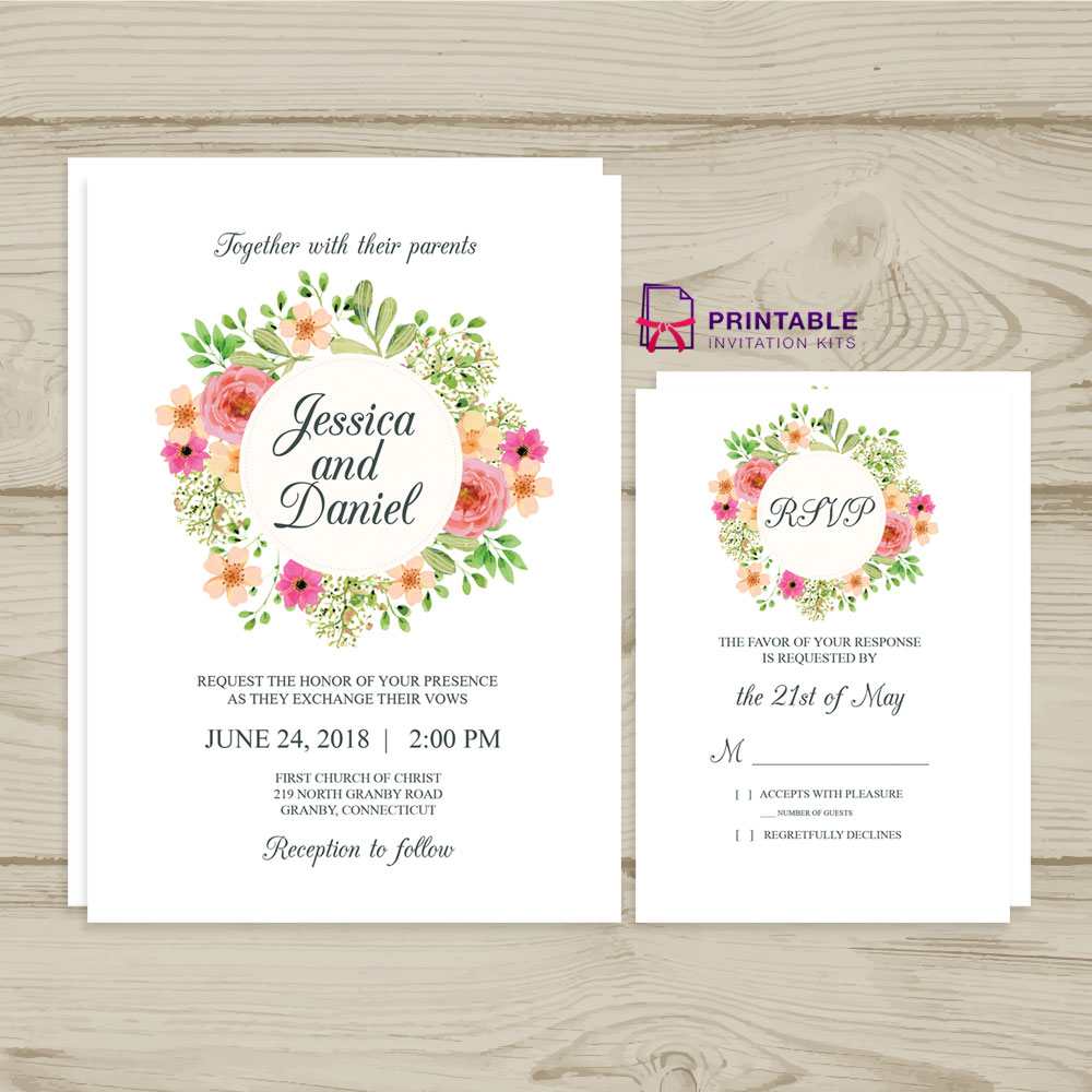 Wreath 2018 Wedding Invitation and RSVP