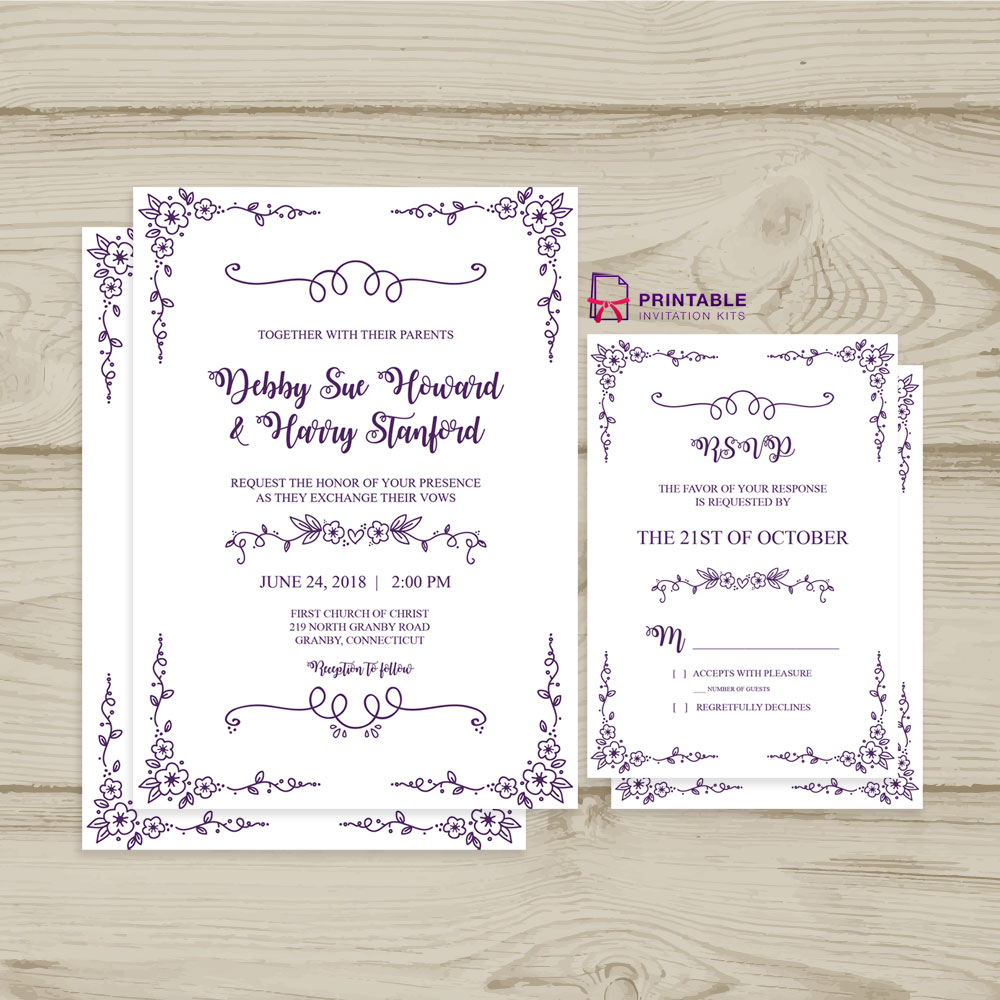 Doodle Floral Border Invitation and RSVP