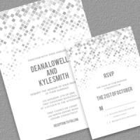 Geometric Grays Wedding Invitation Template