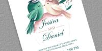 Watercolor Birds Printable Wedding Invitation Template