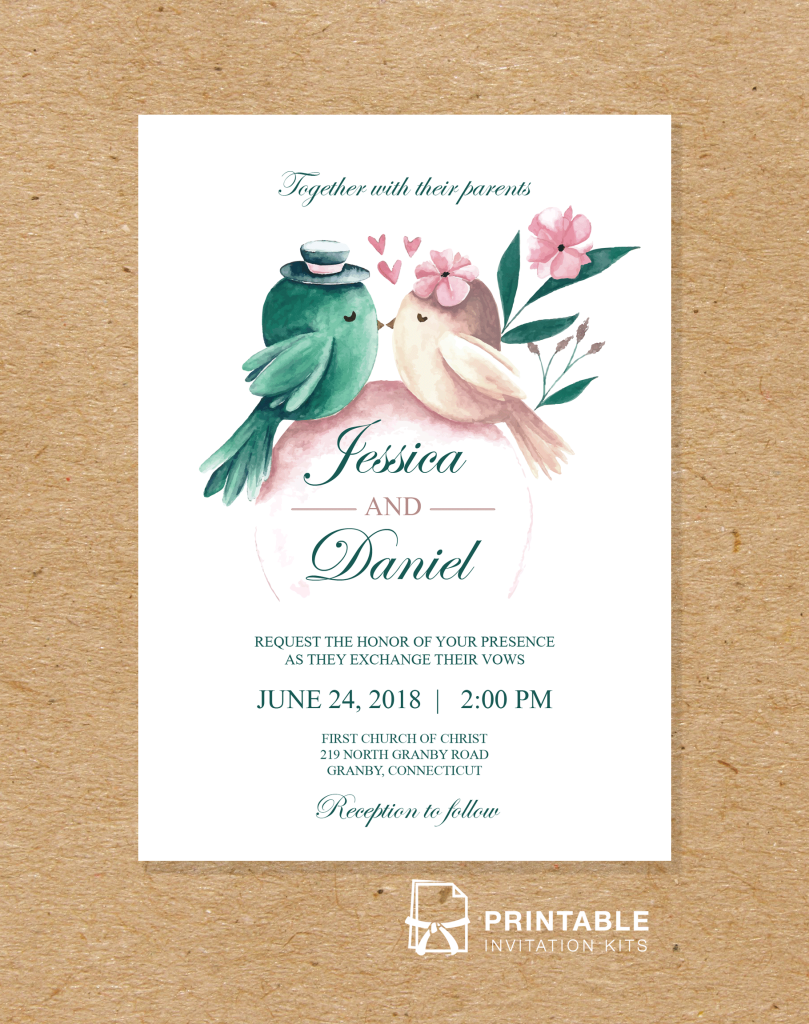 Download and print this PDF wedding invitation template with watercolor birds.