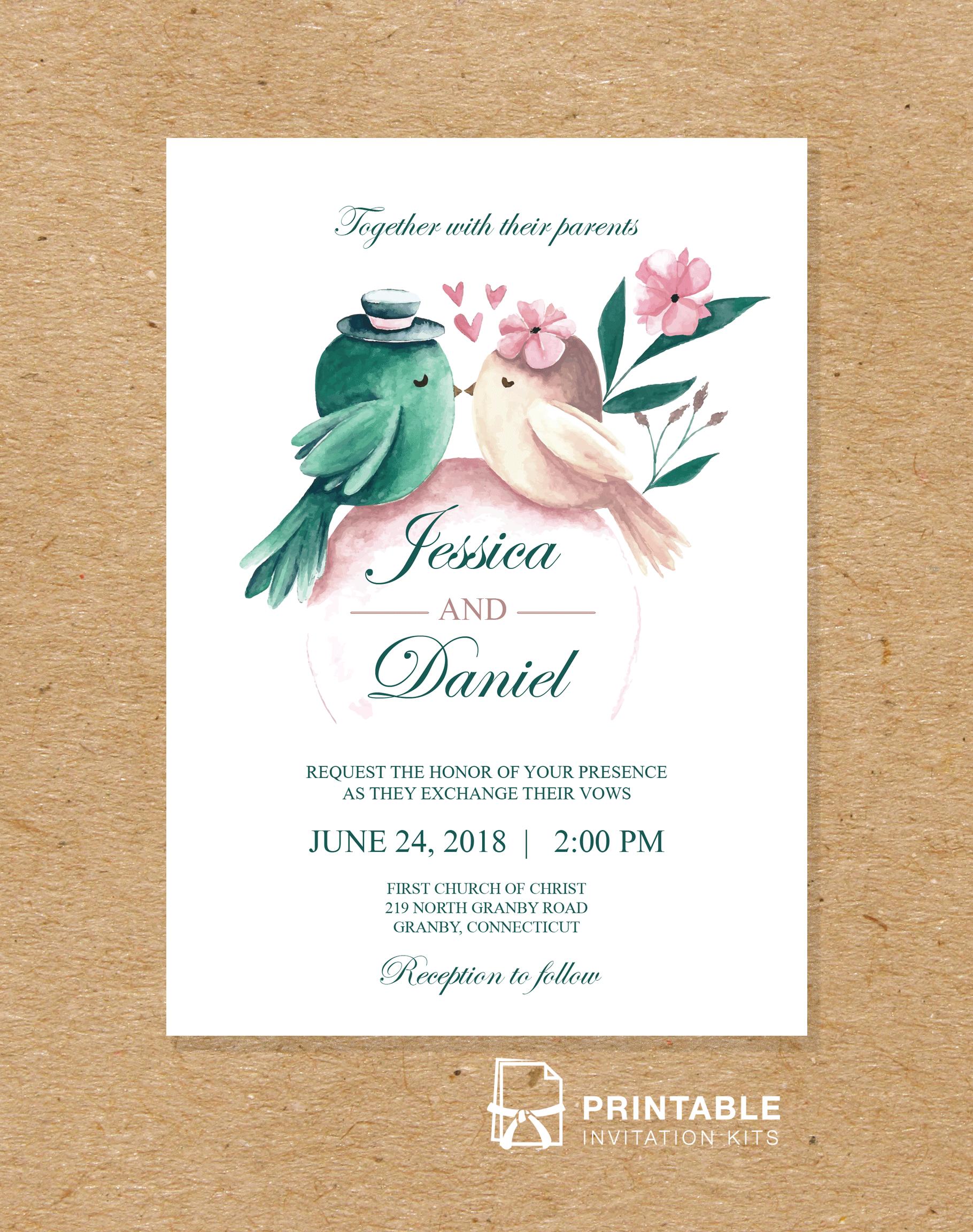 Watercolor Birds 5 Wedding Invitation Template ← Wedding