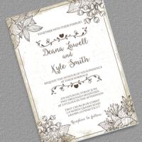 2018 Vintage Distressed Wedding Invitation Template