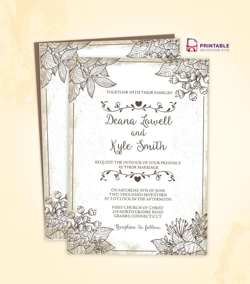 Wedding Invite Free Templates: Vintage Wedding Invitation Template 2018 ← Wedding