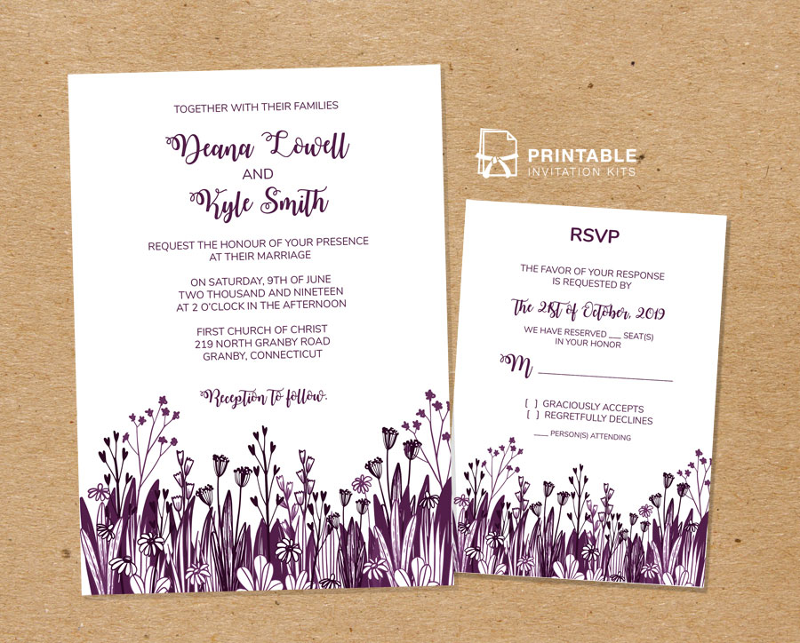 country foliage wedding invitation and rsvp templates  u2190 wedding invitation templates  u2013 printable