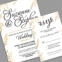 Free wedding invitation templates gold leaves foliage themed wedding invitation and rsvp maxwellsz