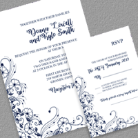 Wedding Invitation and RSVP with Floral Border