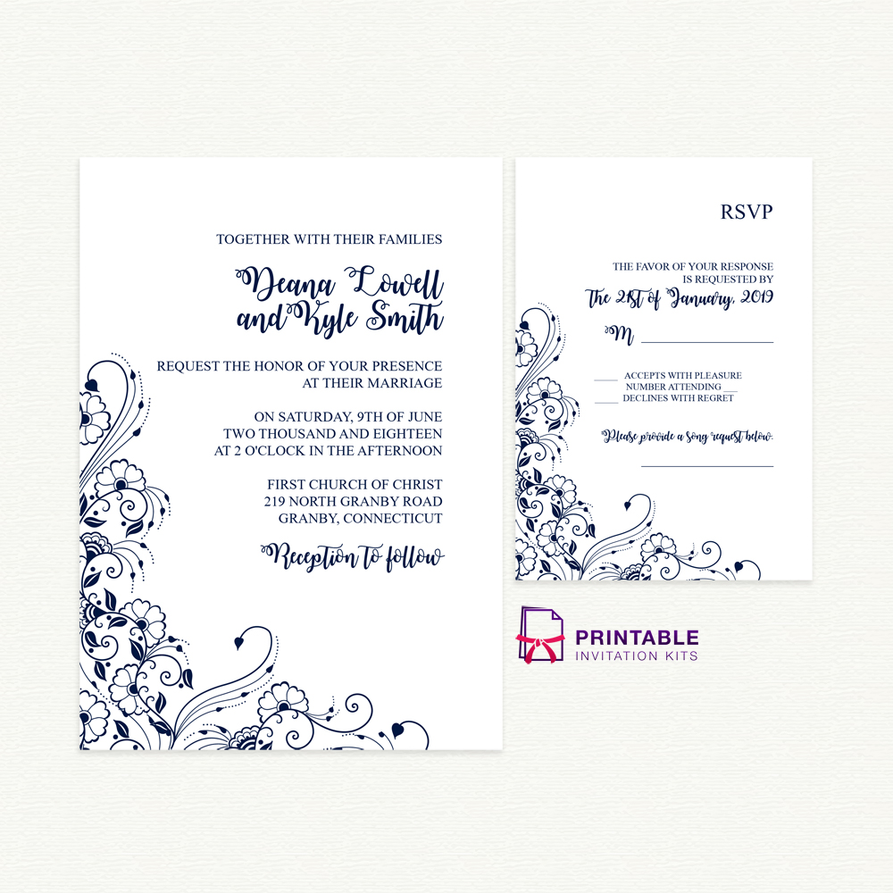 Wedding Invitation And RSVP With Decorative Border