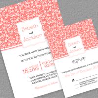 Floral Coral Wedding Invitation and RSVP PDF