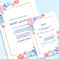 Blue and Peach Invitation and RSVP