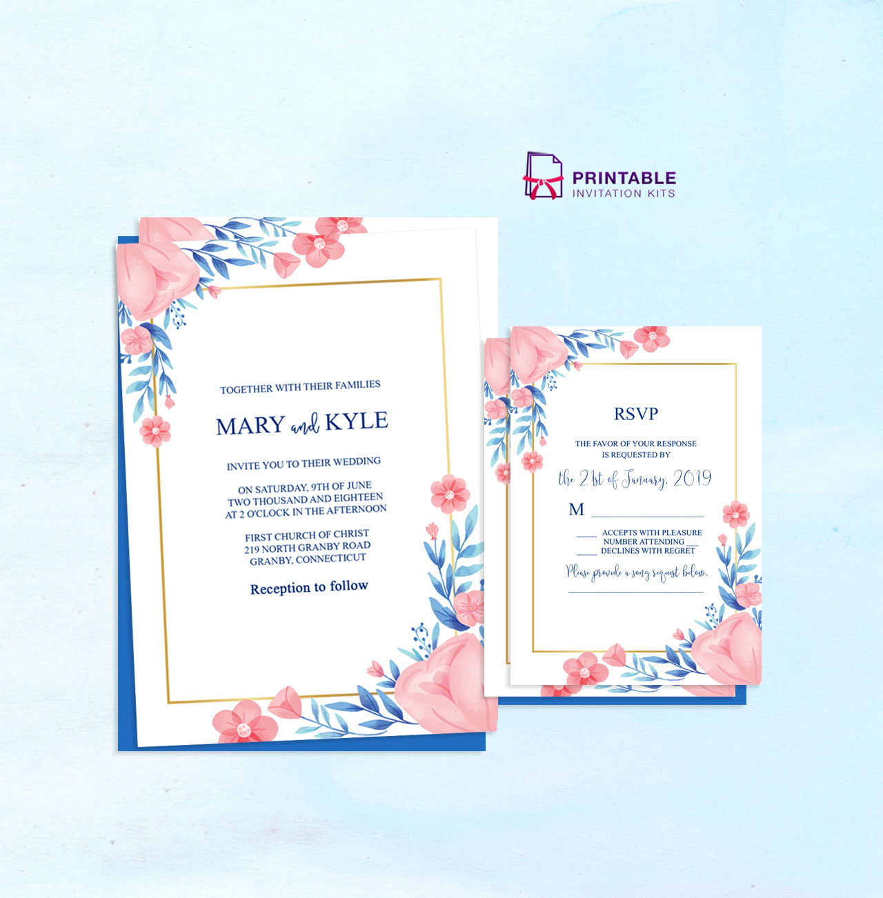 Blue And Peach Flowers Invitation RSVP PDFs Wedding