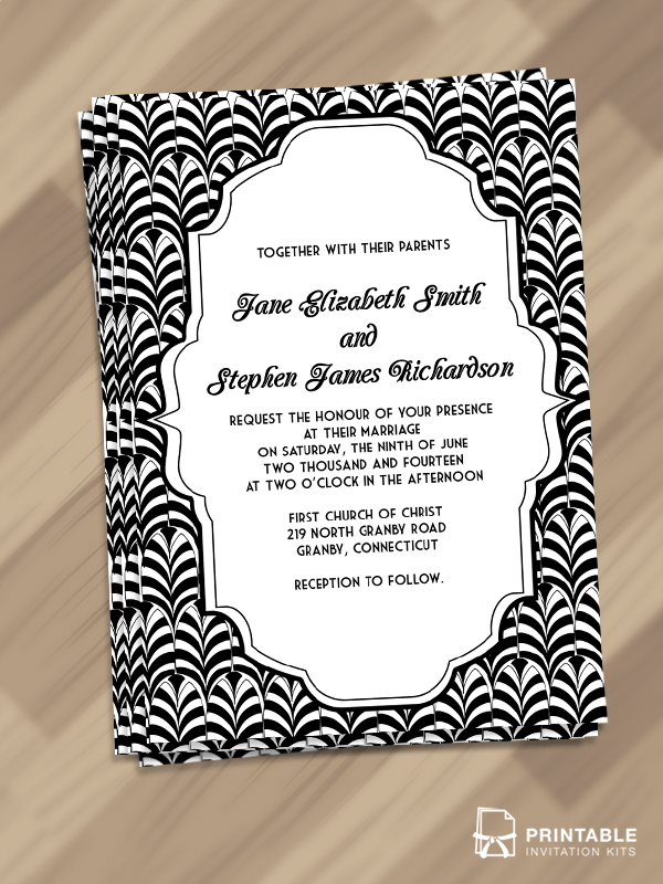 Art Deco Wedding Invitation PDF Template