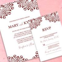 Ornamental Border Wedding Invitation