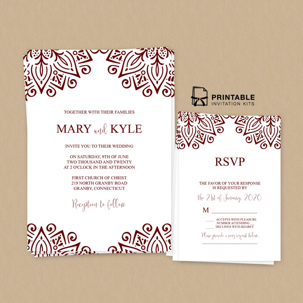 Ornamental Border Wedding Invitation And Rsvp Wedding