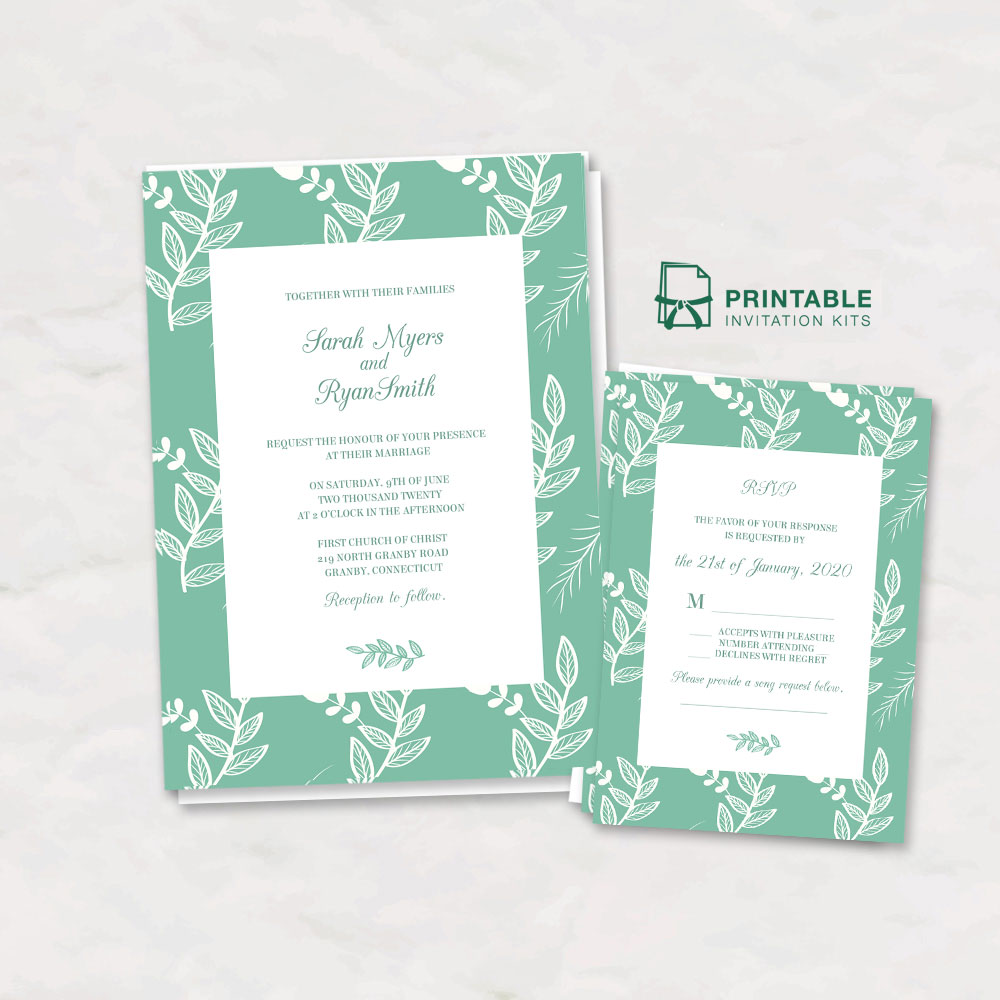 Mint Leaves Wedding Invitation And RSVP