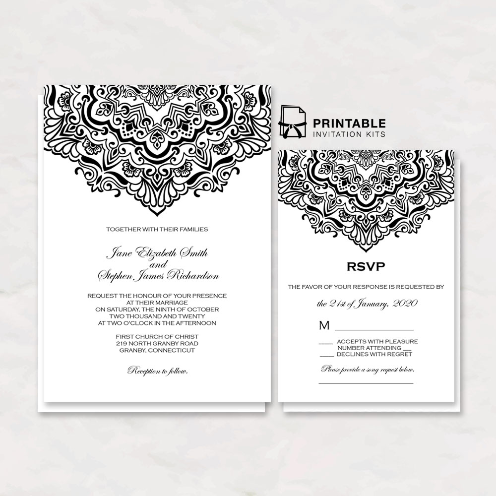 Vintage Ornamental Border Wedding Invitation And Rsvp
