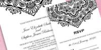 Vintage Black and White Wedding Invitation