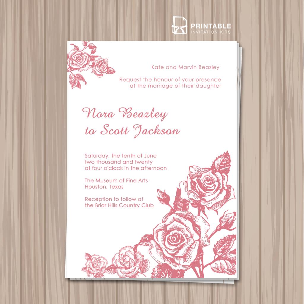 50 Free To Download Floral Garden Wedding Invitation Templates Wedding Invitation Templates Printable Invitation Kits