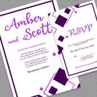 Free PDF Wedding and RSVP Invitation with Abstract Designs