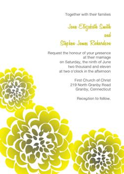 Chrysanthemum Invitation - Yellow & Gray