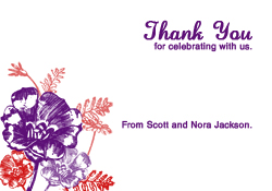 Plum and Red Flowers Thank You Card