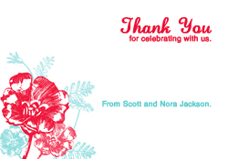Red and Turquoise Flowers Thank You Card