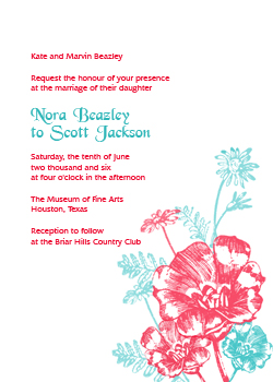 Red and Turquoise Flowers Invitation