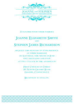 Wedding Logo Invitation Template - Teal